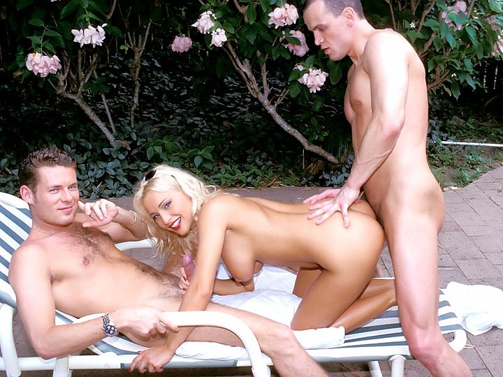 Big Titted Blonde Enjoys in a Threesome
