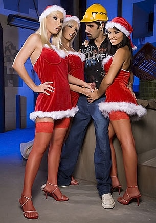 Three Santa Girls for One Construction Worker