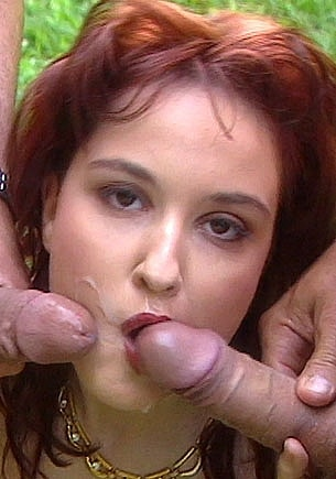 Redheaded Patricia Gets DP in the Forest