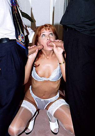 Sexy Redhead Gets a DP Threesome