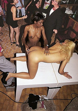 Nadine and Micaela, Interracial Anal Threesome in a Disco